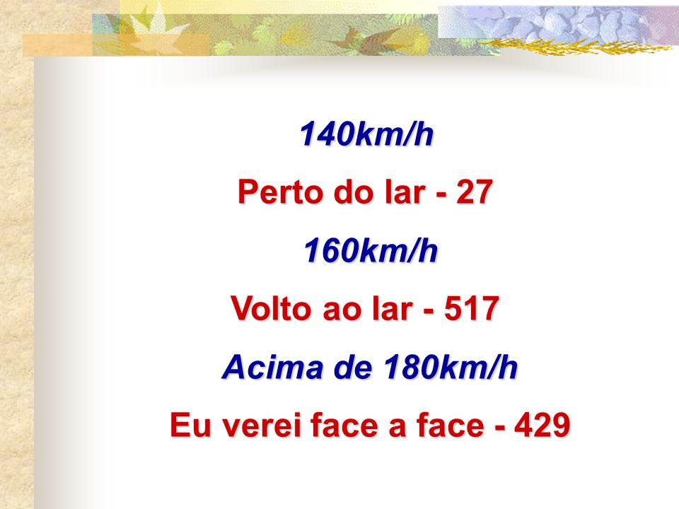 140km/h Perto do lar - 27 160km/h Volto ao lar - 517 Acima de 180km/h Eu verei face a face - 429