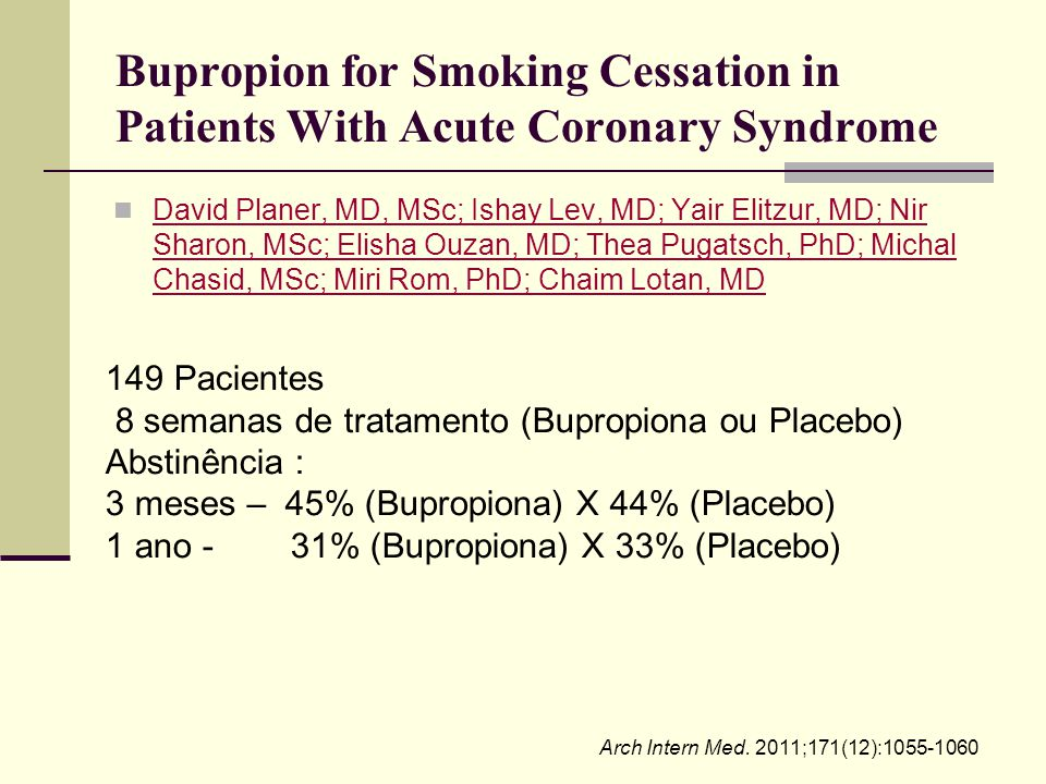 Bupropion for Smoking Cessation in Patients With Acute Coronary Syndrome