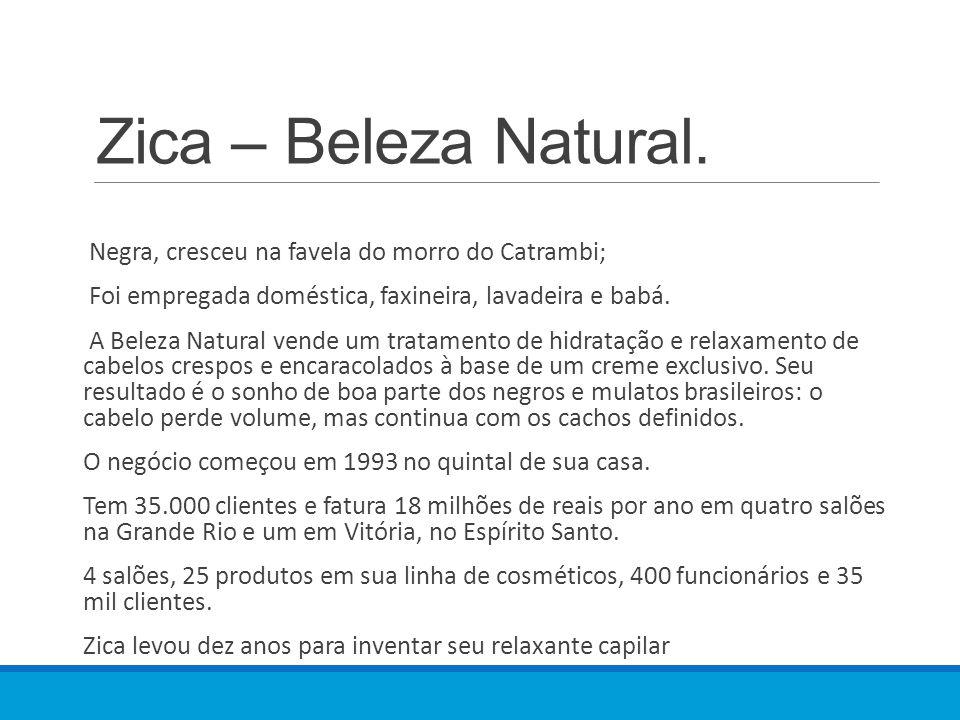 Zica – Beleza Natural. Negra, cresceu na favela do morro do Catrambi;