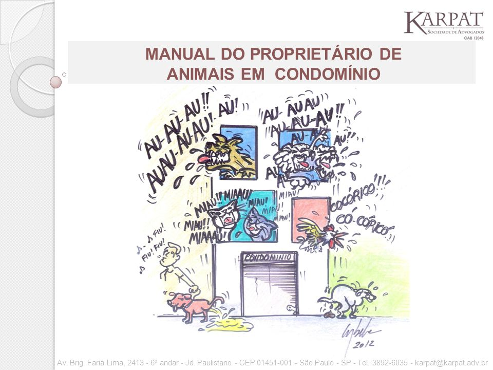 MANUAL DO PROPRIETÁRIO DE ANIMAIS EM CONDOMÍNIO