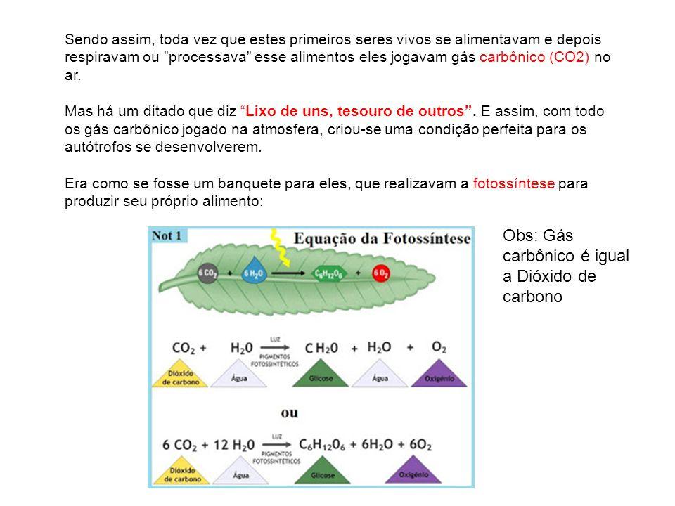 Obs: Gás carbônico é igual a Dióxido de carbono