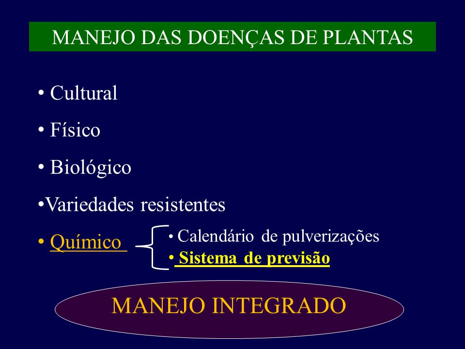 MANEJO DAS DOENÇAS DE PLANTAS