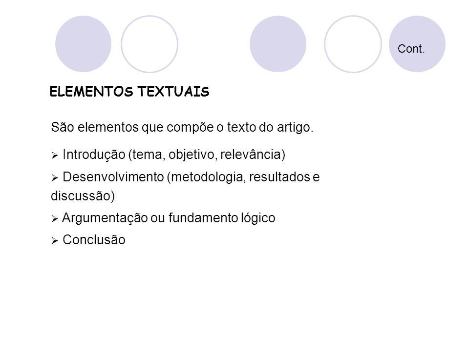 São elementos que compõe o texto do artigo.