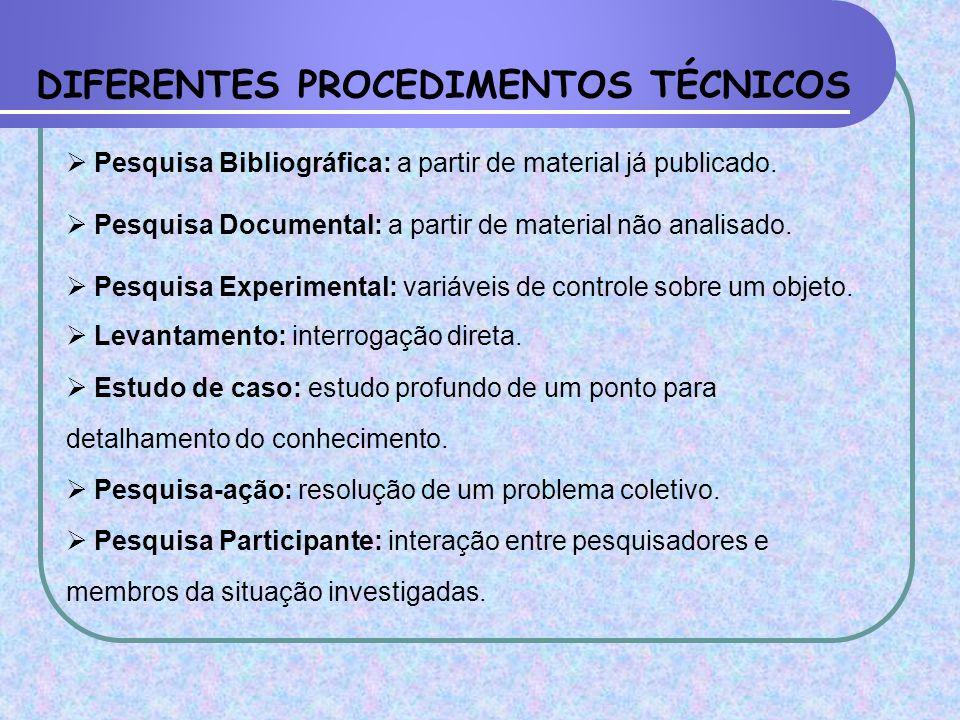 DIFERENTES PROCEDIMENTOS TÉCNICOS