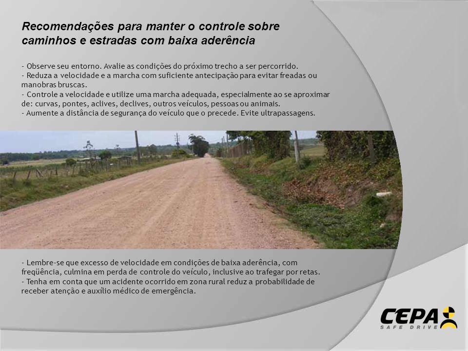 Recomendações para manter o controle sobre caminhos e estradas com baixa aderência