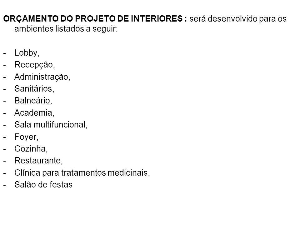 ORÇAMENTO DO PROJETO DE INTERIORES : será desenvolvido para os ambientes listados a seguir: