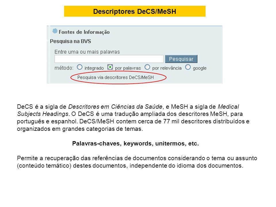Descriptores DeCS/MeSH