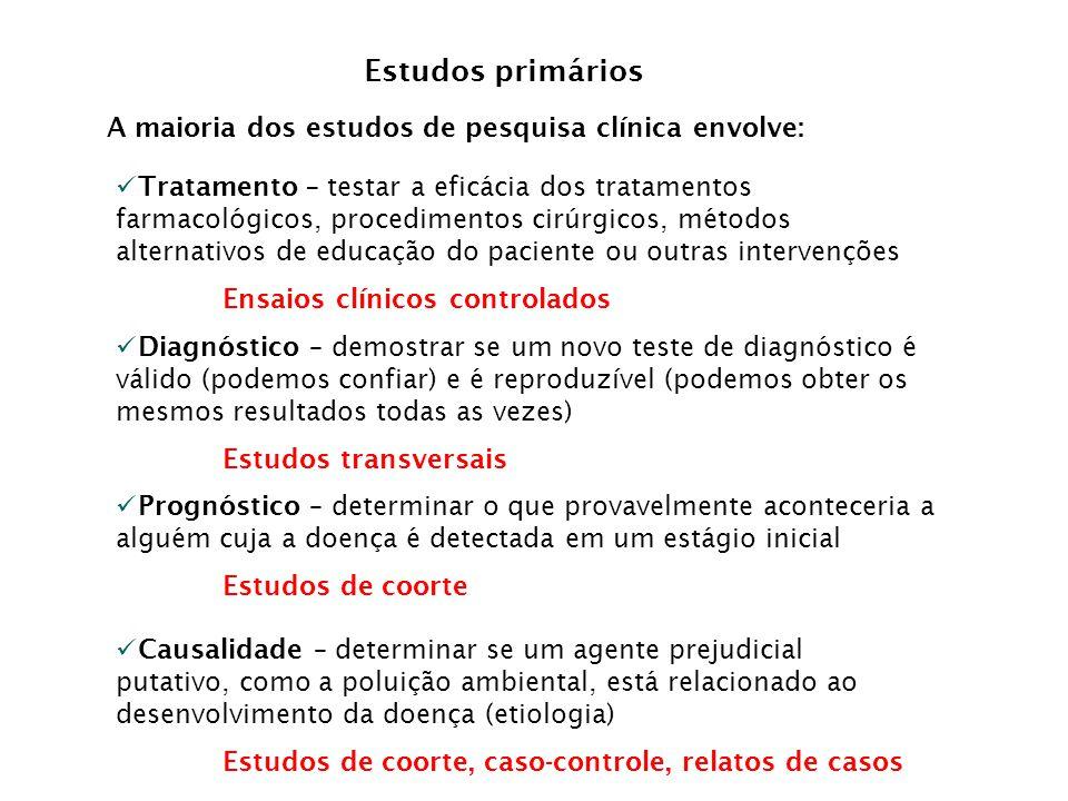 Estudos primários A maioria dos estudos de pesquisa clínica envolve: