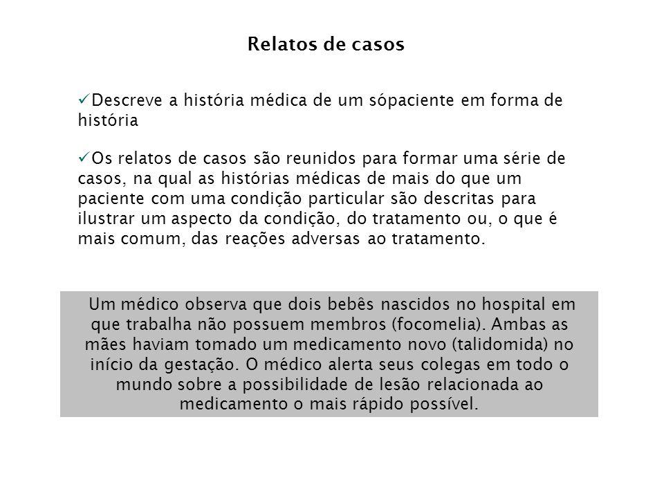 Relatos de casos Descreve a história médica de um sópaciente em forma de história.
