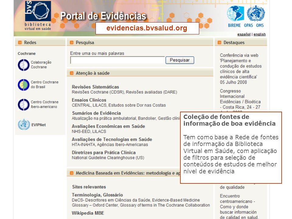 evidencias.bvsalud.org Coleção de fontes de informação de boa evidência.