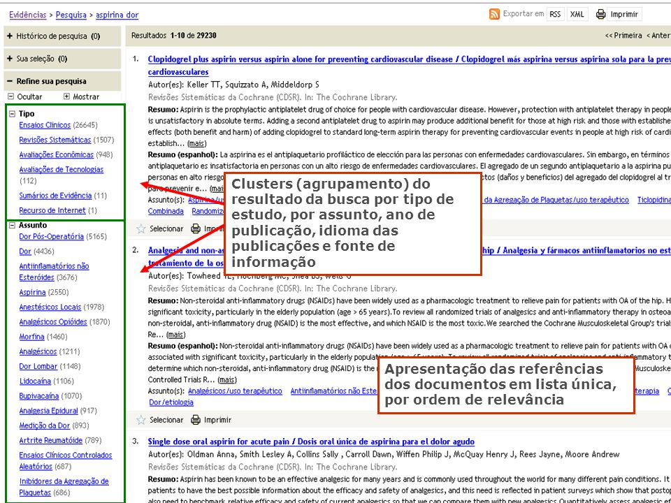 Clusters (agrupamento) do resultado da busca por tipo de estudo, por assunto, ano de publicação, idioma das publicações e fonte de informação
