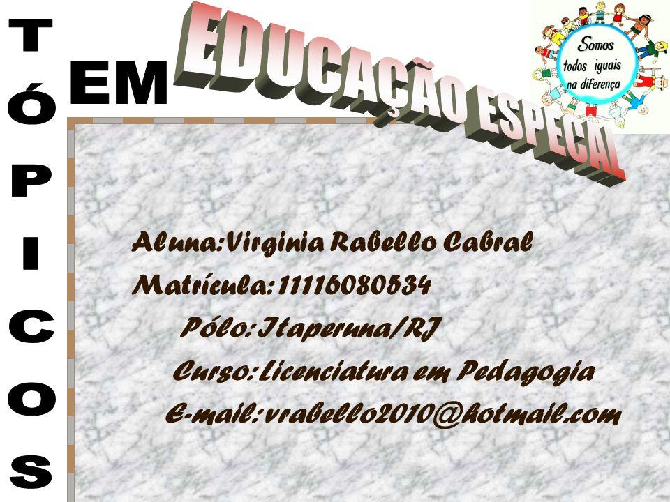 EDUCAÇÃO ESPECAL EM TÓPICOS Aluna: Virginia Rabello Cabral