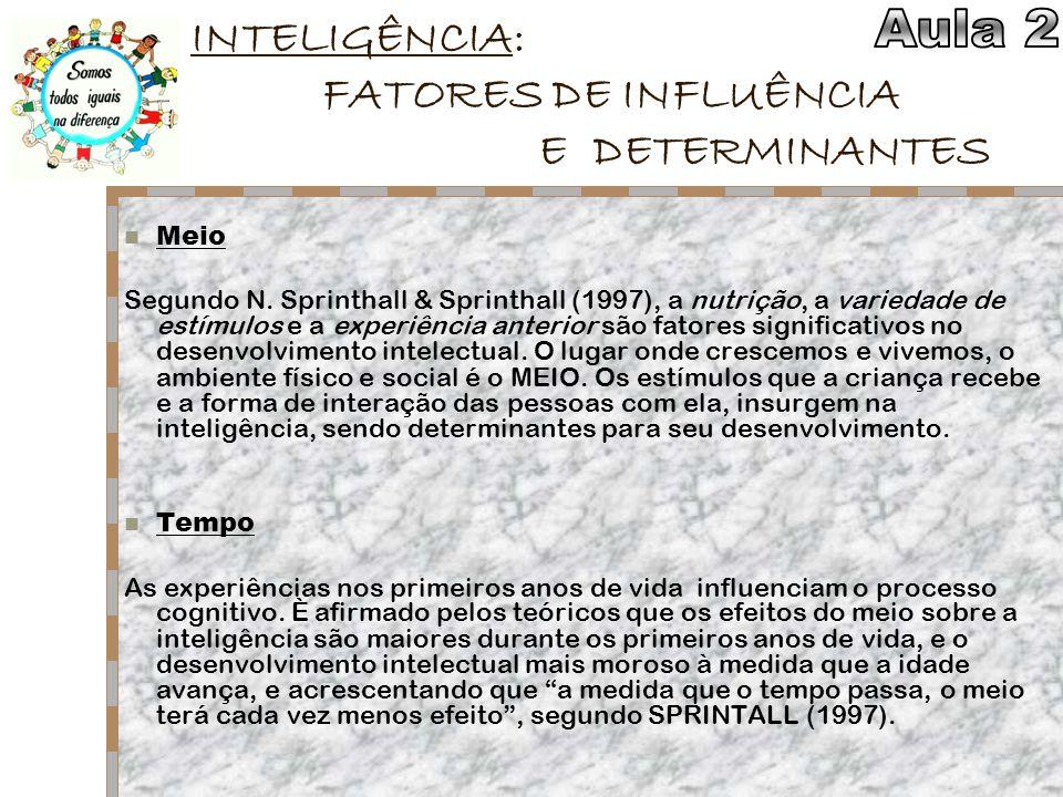 INTELIGÊNCIA: FATORES DE INFLUÊNCIA E DETERMINANTES