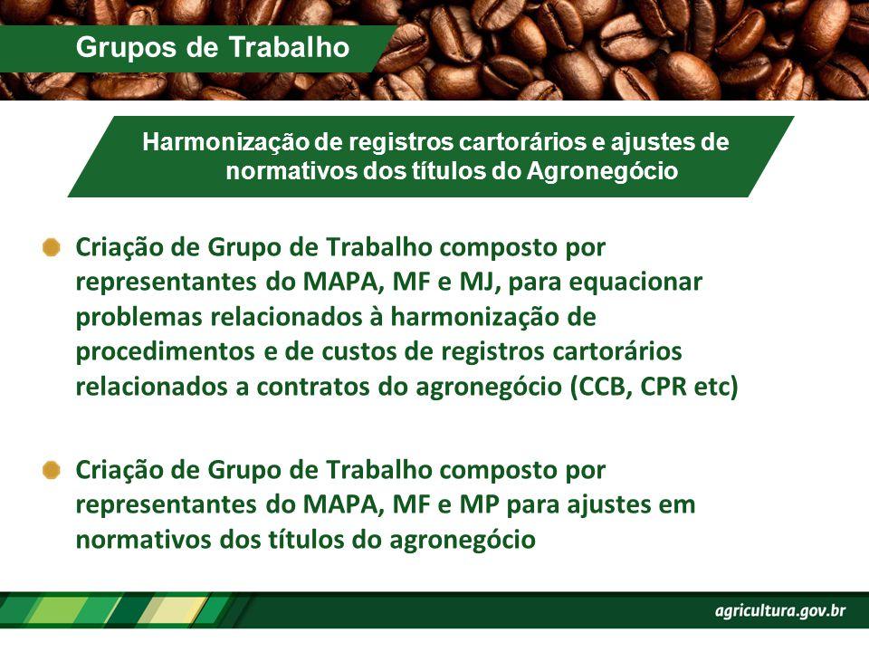 Grupos de Trabalho Harmonização de registros cartorários e ajustes de normativos dos títulos do Agronegócio.