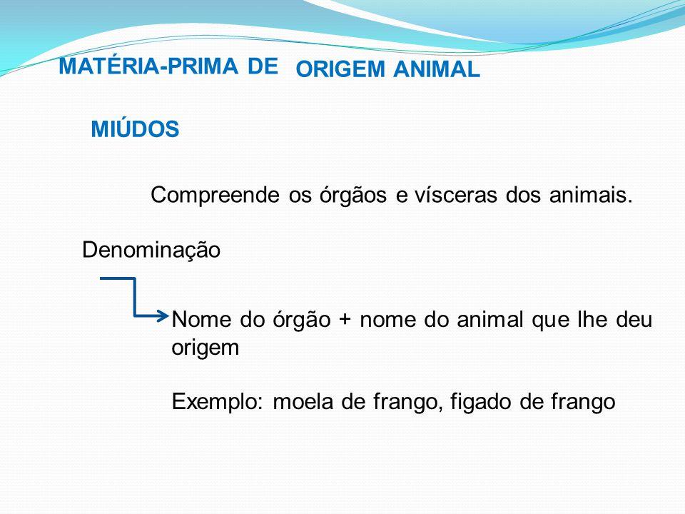 MATÉRIA-PRIMA DE ORIGEM ANIMAL. MIÚDOS. Compreende os órgãos e vísceras dos animais. Denominação.