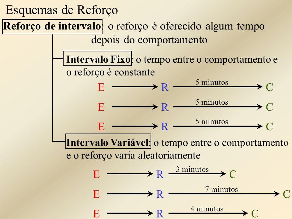 Esquemas de Reforço Reforço de intervalo: o reforço é oferecido algum tempo depois do comportamento.