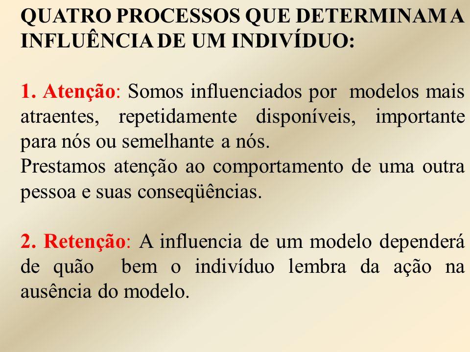 QUATRO PROCESSOS QUE DETERMINAM A INFLUÊNCIA DE UM INDIVÍDUO: