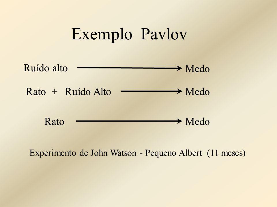 Exemplo Pavlov Ruído alto Medo Rato + Ruído Alto Medo Rato Medo