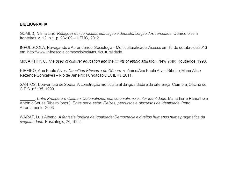 BIBLIOGRAFIA GOMES, Nilma Lino