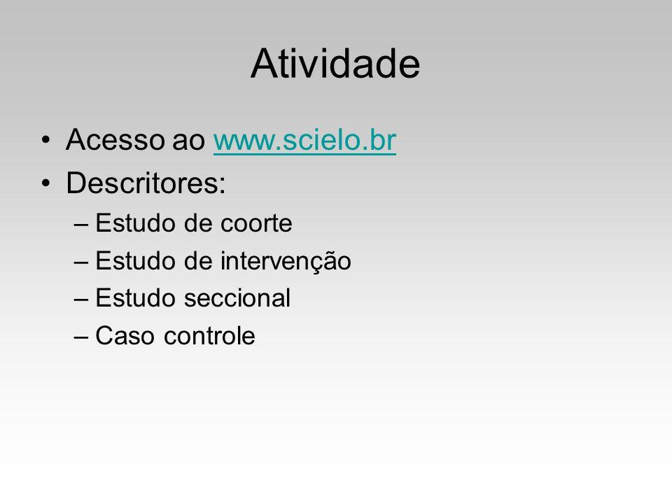 Atividade Acesso ao www.scielo.br Descritores: Estudo de coorte