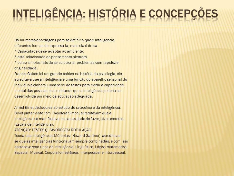 INTELIGÊNCIA: HISTÓRIA E CONCEPÇÕES