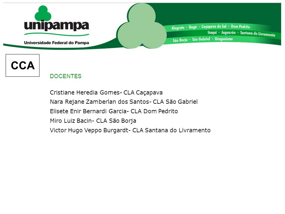 CCA DOCENTES Cristiane Heredia Gomes- CLA Caçapava