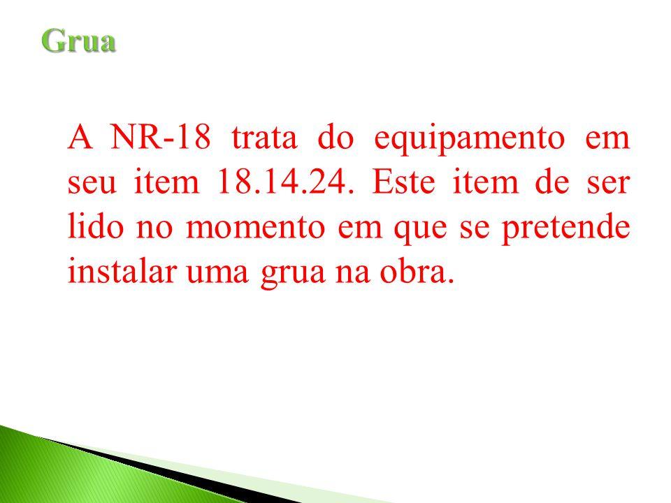 Grua A NR-18 trata do equipamento em seu item 18.14.24.