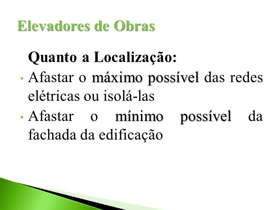 Elevadores de Obras Quanto a Localização: Afastar o máximo possível das redes elétricas ou isolá-las.