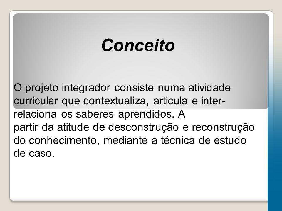 Conceito O projeto integrador consiste numa atividade curricular que contextualiza, articula e inter-relaciona os saberes aprendidos. A.