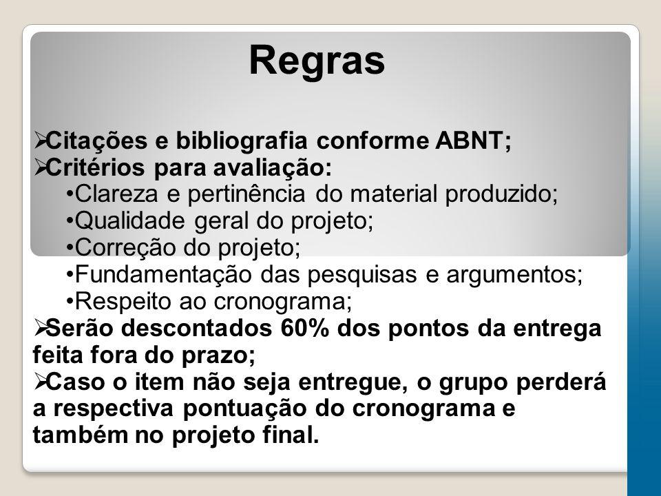 Regras Citações e bibliografia conforme ABNT;