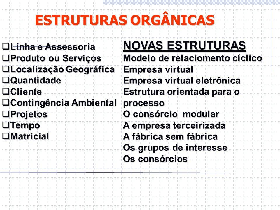 ESTRUTURAS ORGÂNICAS NOVAS ESTRUTURAS Linha e Assessoria