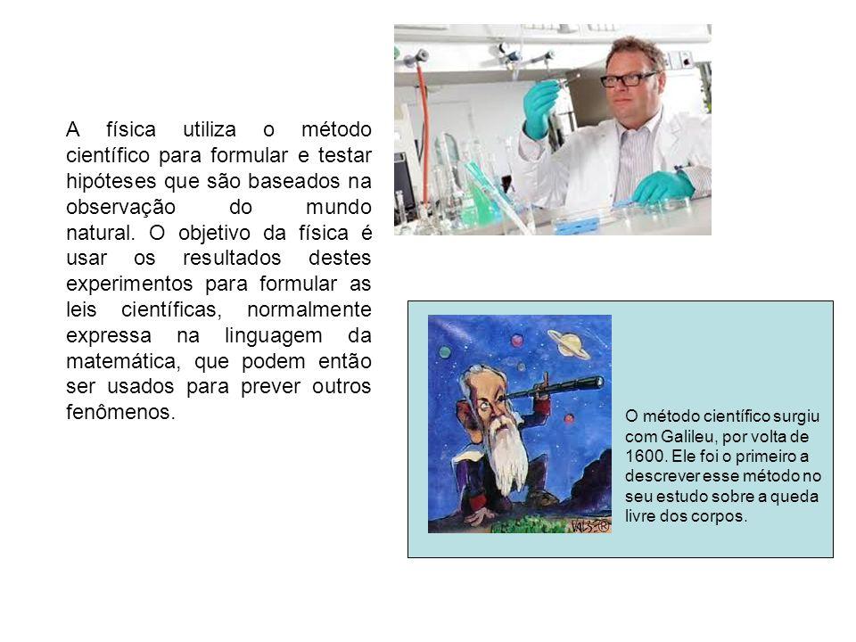A física utiliza o método científico para formular e testar hipóteses que são baseados na observação do mundo natural. O objetivo da física é usar os resultados destes experimentos para formular as leis científicas, normalmente expressa na linguagem da matemática, que podem então ser usados para prever outros fenômenos.