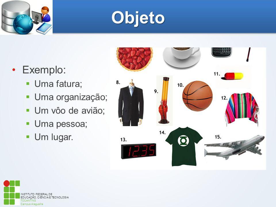 Objeto Exemplo: Uma fatura; Uma organização; Um vôo de avião;