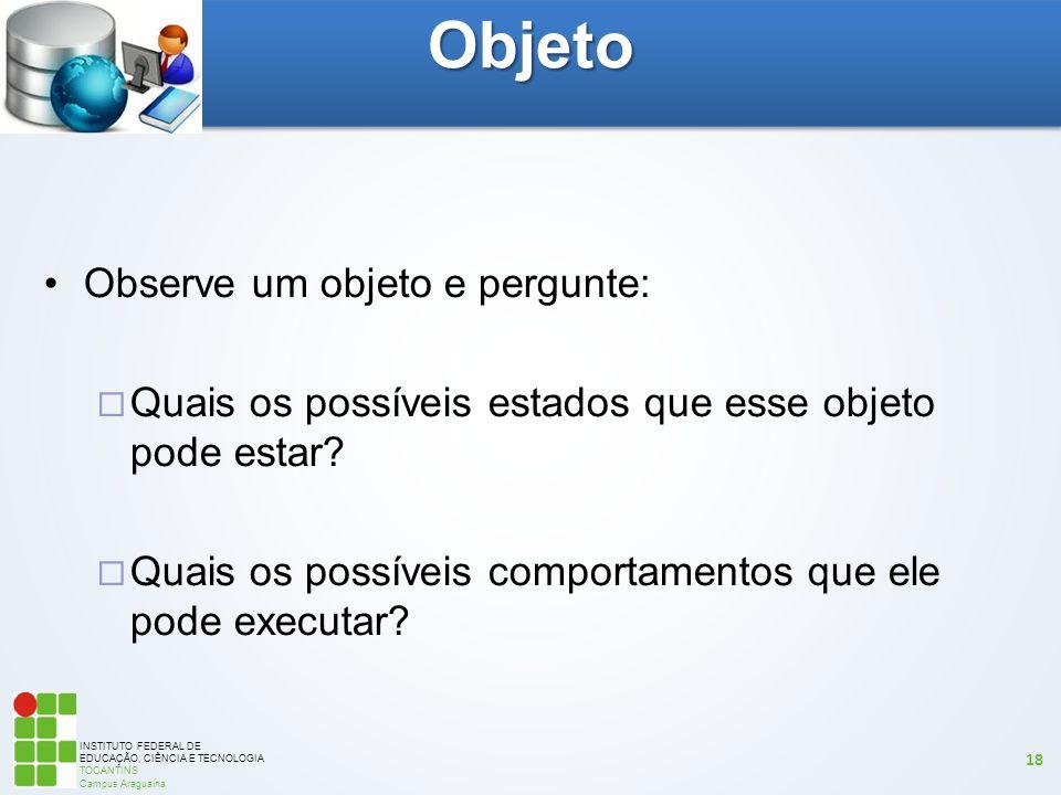 Objeto Observe um objeto e pergunte: