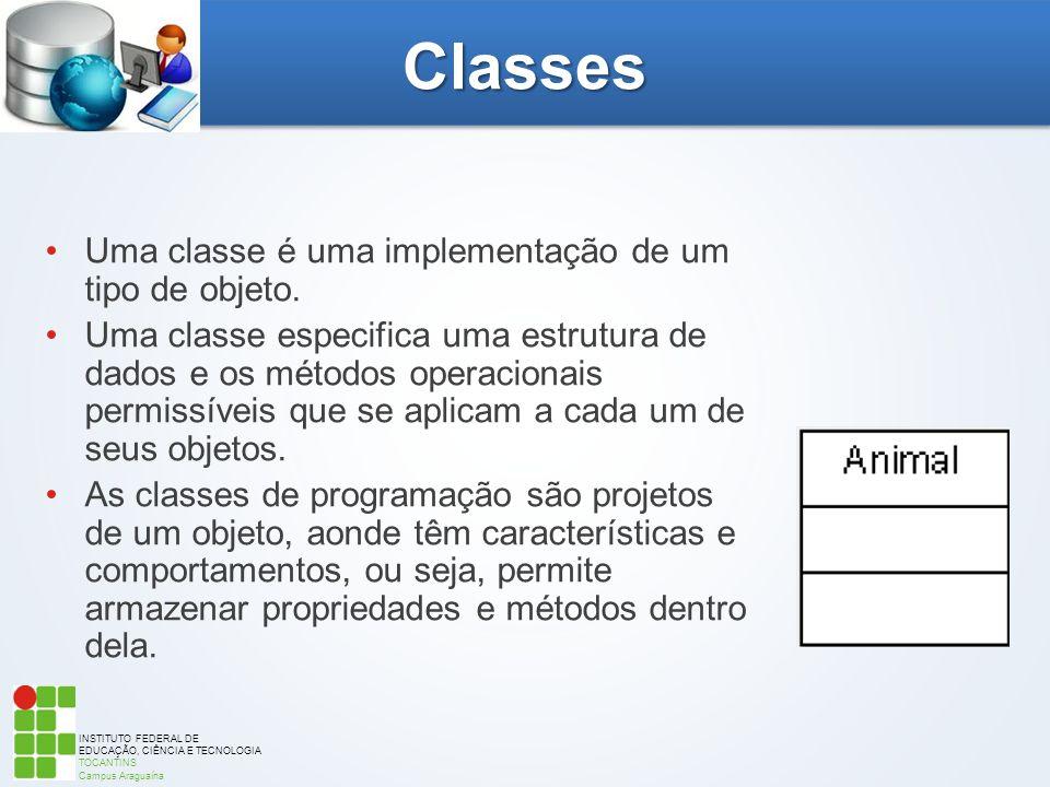 Classes Uma classe é uma implementação de um tipo de objeto.