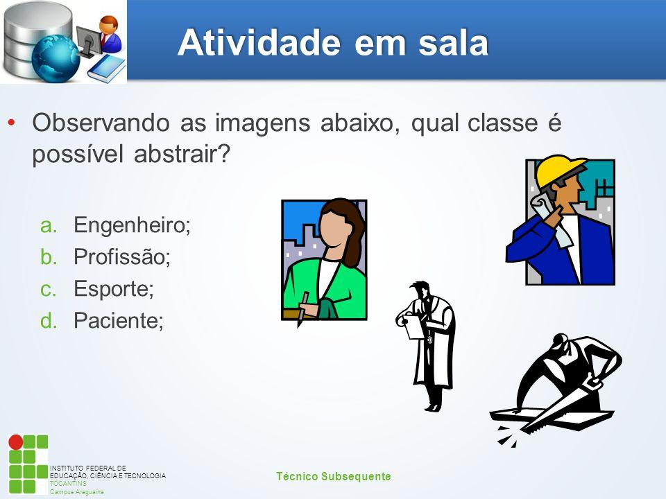 Atividade em sala Observando as imagens abaixo, qual classe é possível abstrair Engenheiro; Profissão;