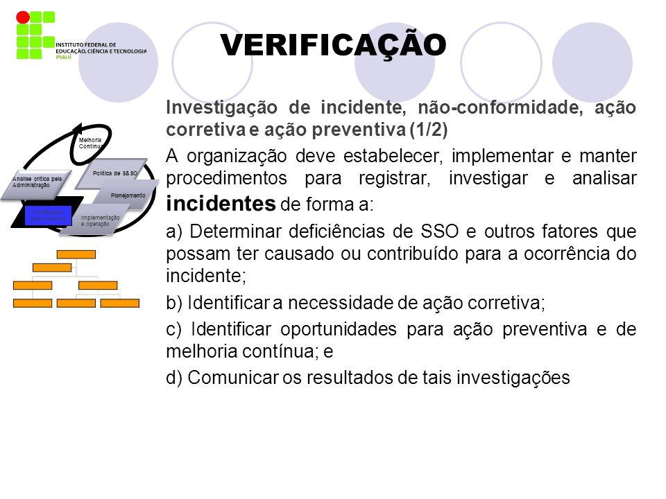 VERIFICAÇÃO Investigação de incidente, não-conformidade, ação corretiva e ação preventiva (1/2)