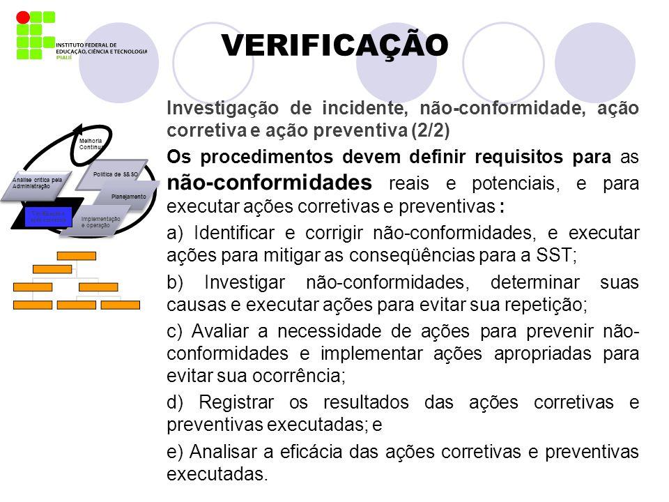 VERIFICAÇÃO Investigação de incidente, não-conformidade, ação corretiva e ação preventiva (2/2)