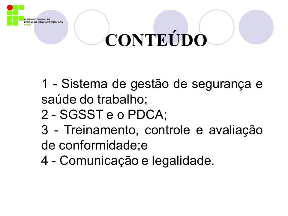 CONTEÚDO 1 - Sistema de gestão de segurança e saúde do trabalho;