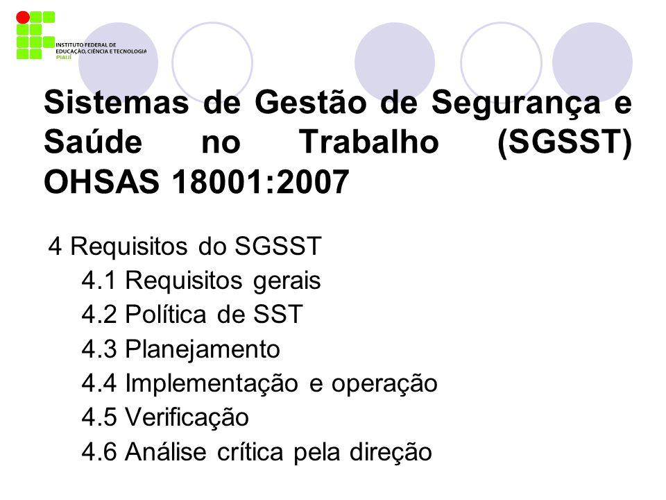 Sistemas de Gestão de Segurança e Saúde no Trabalho (SGSST) OHSAS 18001:2007
