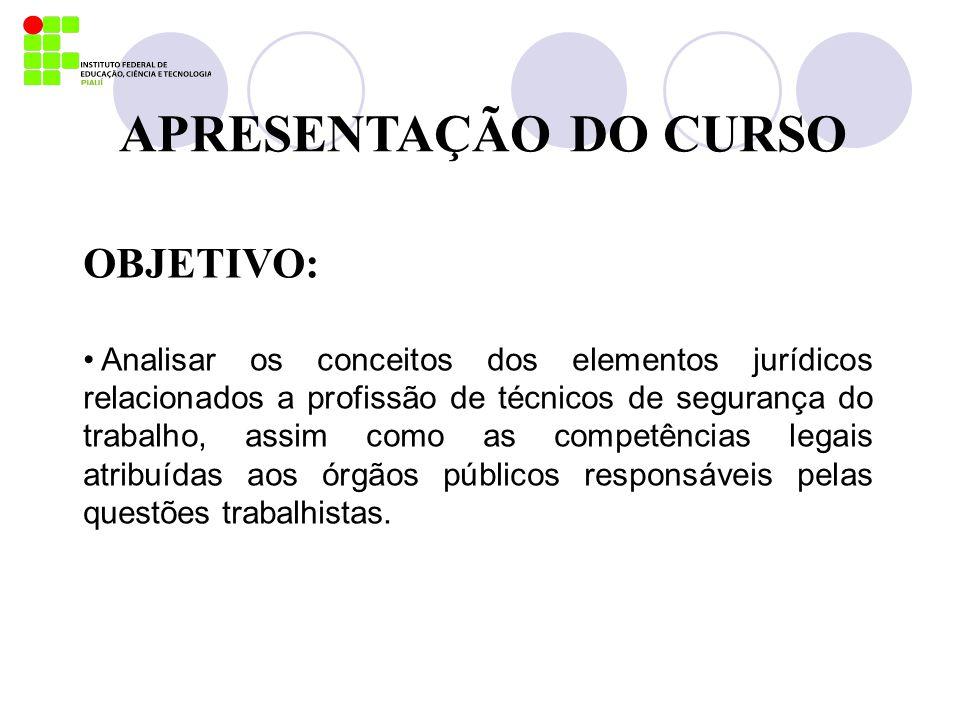 APRESENTAÇÃO DO CURSO OBJETIVO: