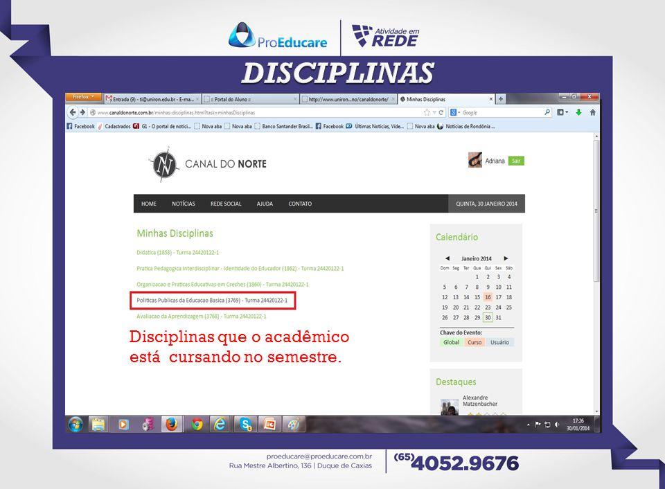 DISCIPLINAS Disciplinas que o acadêmico está cursando no semestre.