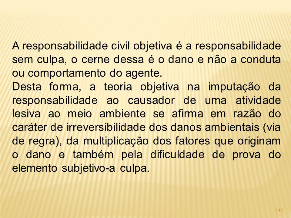 A responsabilidade civil objetiva é a responsabilidade sem culpa, o cerne dessa é o dano e não a conduta ou comportamento do agente.