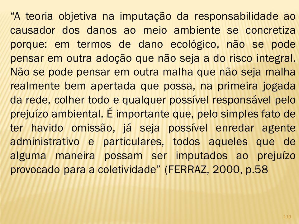 A teoria objetiva na imputação da responsabilidade ao causador dos danos ao meio ambiente se concretiza porque: em termos de dano ecológico, não se pode pensar em outra adoção que não seja a do risco integral.