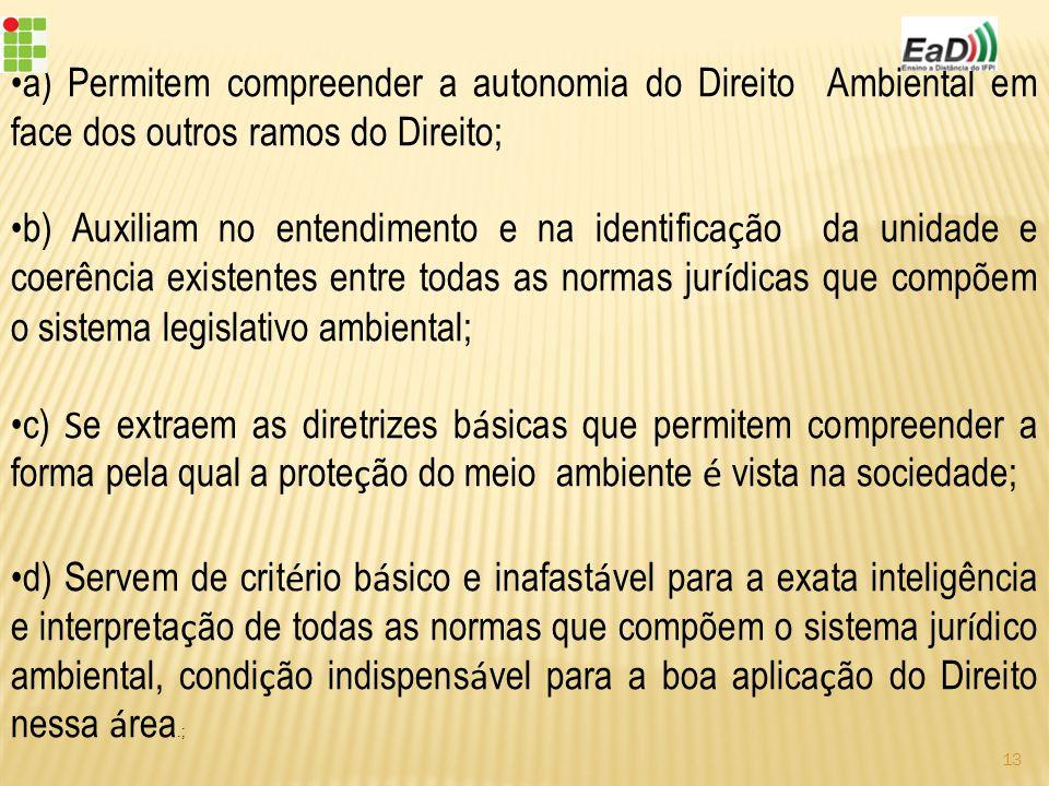 a) Permitem compreender a autonomia do Direito Ambiental em face dos outros ramos do Direito;