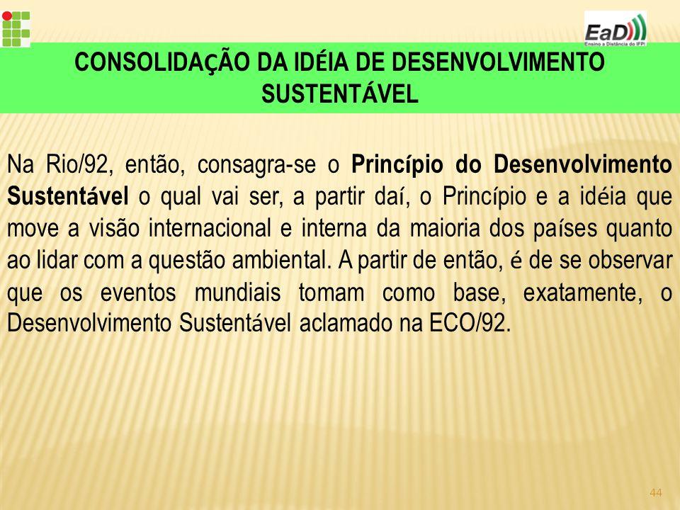 CONSOLIDAÇÃO DA IDÉIA DE DESENVOLVIMENTO SUSTENTÁVEL