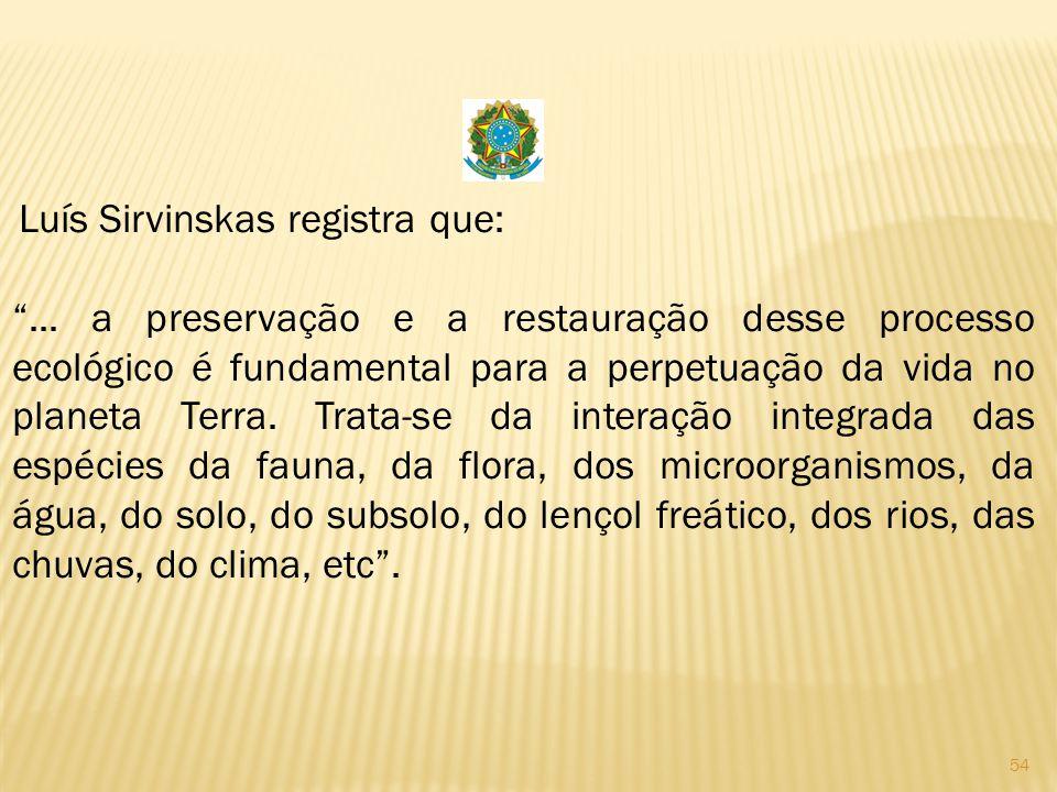 Luís Sirvinskas registra que: