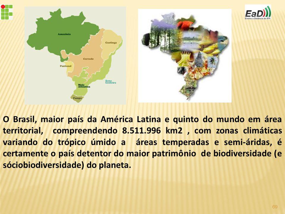 O Brasil, maior país da América Latina e quinto do mundo em área territorial, compreendendo 8.511.996 km2 , com zonas climáticas variando do trópico úmido a áreas temperadas e semi-áridas, é certamente o país detentor do maior patrimônio de biodiversidade (e sóciobiodiversidade) do planeta.