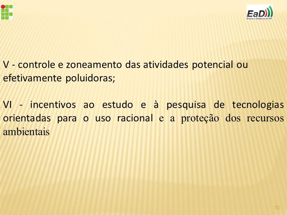 V - controle e zoneamento das atividades potencial ou efetivamente poluidoras;
