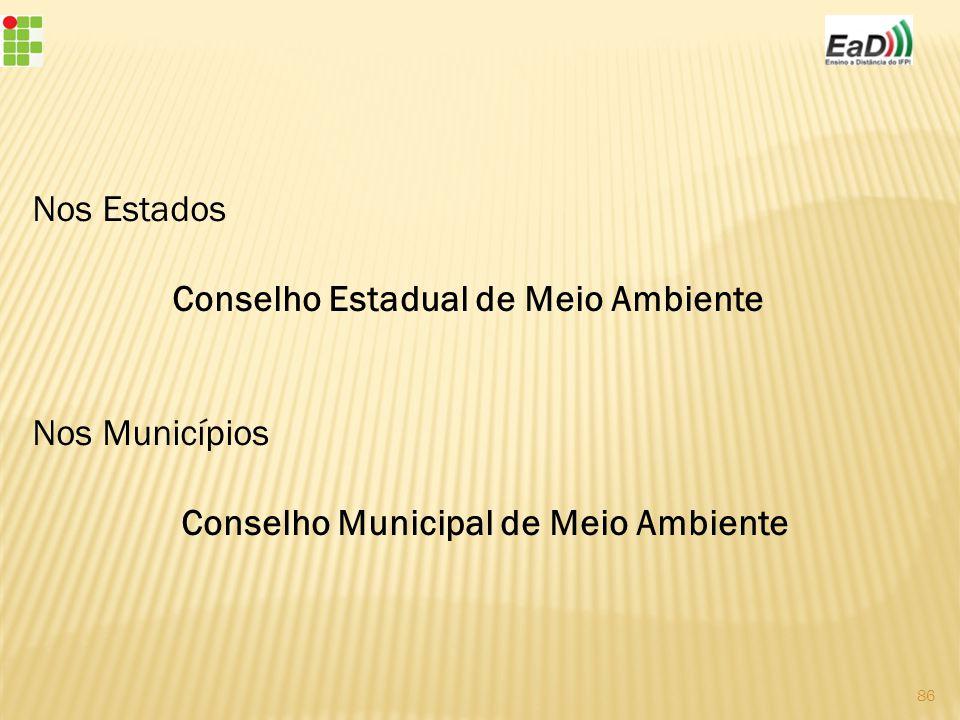 Nos Estados Conselho Estadual de Meio Ambiente Nos Municípios Conselho Municipal de Meio Ambiente
